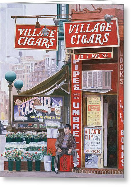 Tobacconist Greeting Cards - Village Cigars Greeting Card by Anthony Butera