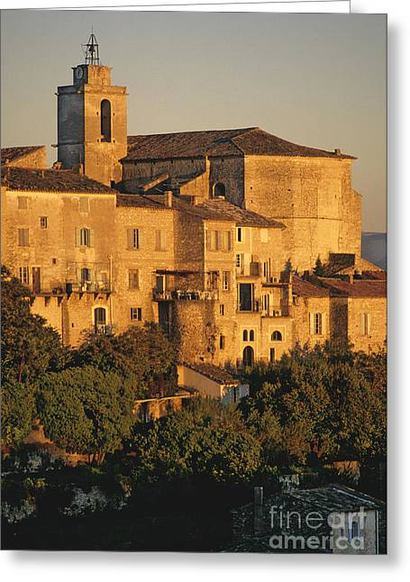 France Photographs Greeting Cards - Village de Gordes. Vaucluse. France. Europe Greeting Card by Bernard Jaubert
