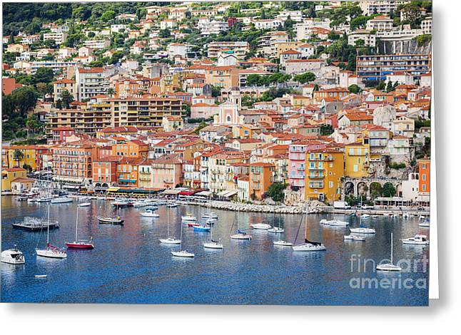 Azur Greeting Cards - Villefranche-sur-Mer view on French Riviera Greeting Card by Elena Elisseeva