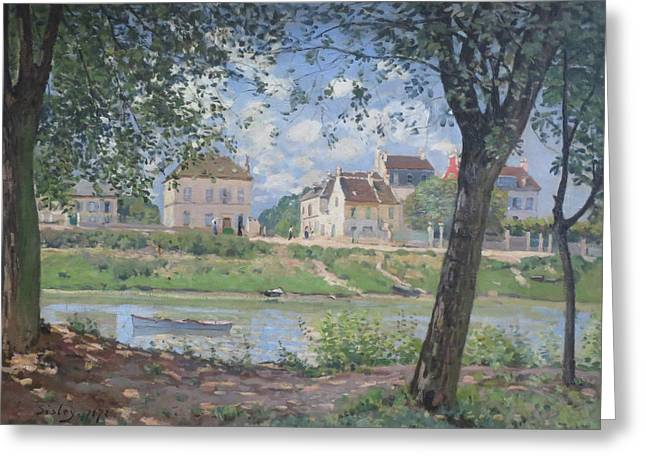 River Paintings Greeting Cards - Villeneuve la Garenne Greeting Card by Alfred Sisley