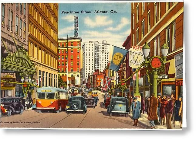Vintage Atlanta Postcard Greeting Card by Mountain Dreams