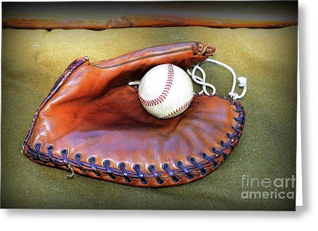 Vintage Baseball Glove Greeting Card by Paul Ward