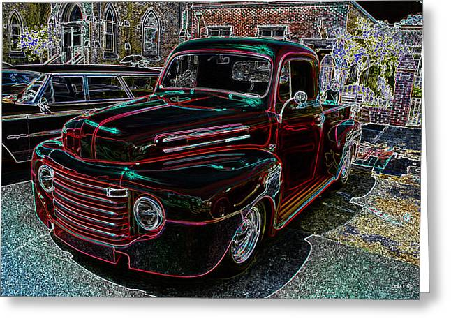 Gold Trim Greeting Cards - Vintage Chevy Truck Neon Art Greeting Card by Lesa Fine