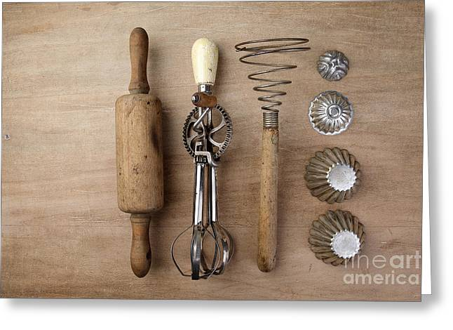 Retro Antique Greeting Cards - Vintage Cooking Utensils Greeting Card by Nailia Schwarz