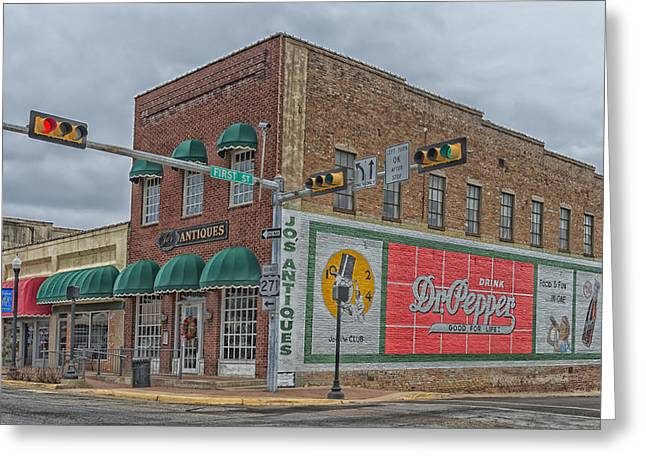 Art Of Building Greeting Cards - Vintage Dr Pepper Painting in Downtown Mount Pleasant Texas Greeting Card by Mountain Dreams