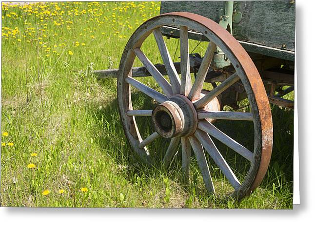 Flower Design Greeting Cards - Vintage Spoked Wheel on Grain Wagon Greeting Card by Donald  Erickson