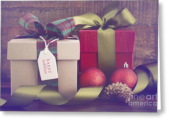 Christmas Eve Greeting Cards - Vintage style Christmas Gifts Greeting Card by Milleflore Images