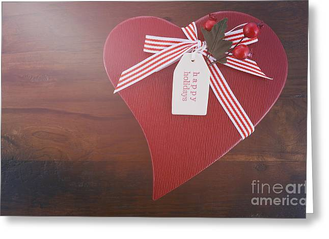 Christmas Eve Greeting Cards - Vintage style red heart shape Christmas gift Greeting Card by Milleflore Images