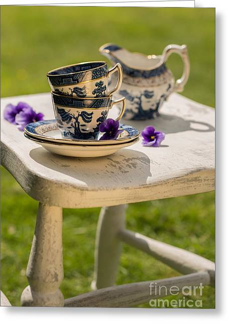 Milk Day Greeting Cards - Vintage Teacups Greeting Card by Amanda And Christopher Elwell