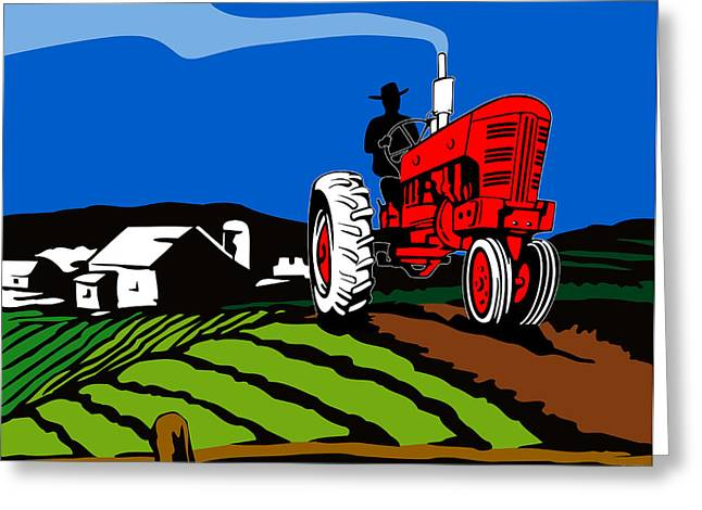 Vintage Tractor Retro Greeting Card by Aloysius Patrimonio