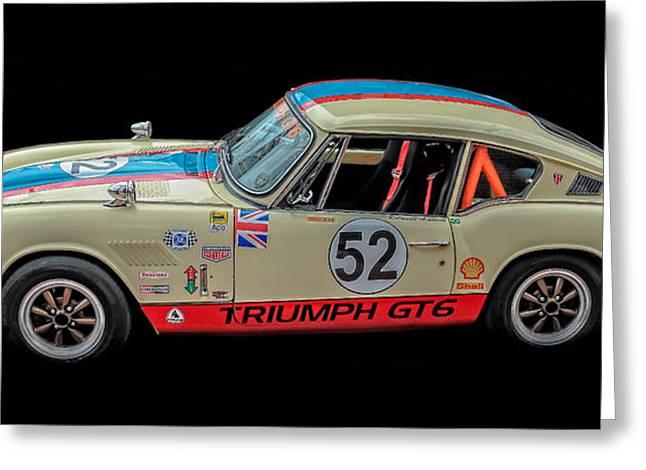 Plus Greeting Cards - Vintage Triumph GT6 Plus Race Car Greeting Card by Edward Fielding