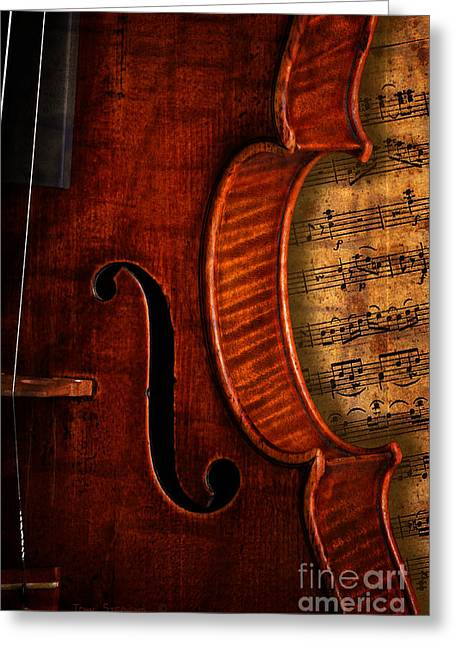 Vintage Violin With Antique Overture Sheet Music Greeting Card by John Stephens