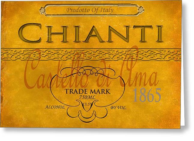 Vintage Wine Label Print Chianti Greeting Card by Adam Slack