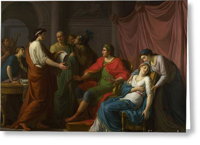 Virgil Greeting Cards - Virgil Reading The Aeneid To Augustus And Octavia Greeting Card by Jean-Joseph Taillasson