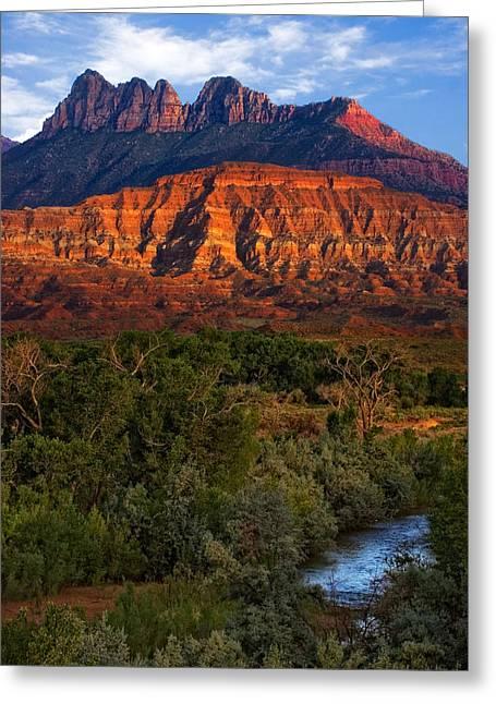 Slickrock Greeting Cards - Virgin River near Zion National Park Greeting Card by Utah Images