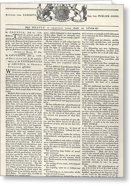 Virginia Gazette, 1776 Greeting Card by Granger