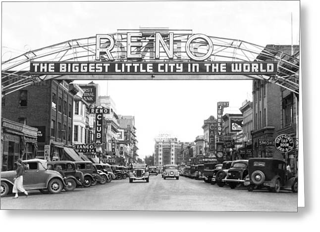 The Western Hotel Greeting Cards - Virginia Street In Reno Greeting Card by Underwood Archives