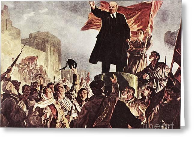 Rally Greeting Cards - Vladimir Lenin (1870-1924) Greeting Card by Granger