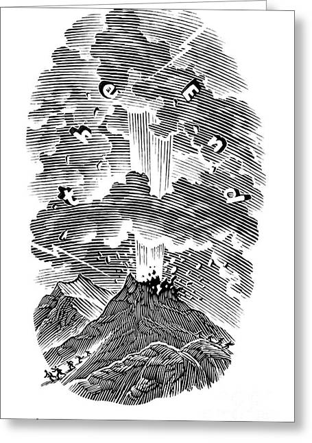 Linocut Greeting Cards - Volcanic Eruption, Artwork Greeting Card by Bill Sanderson