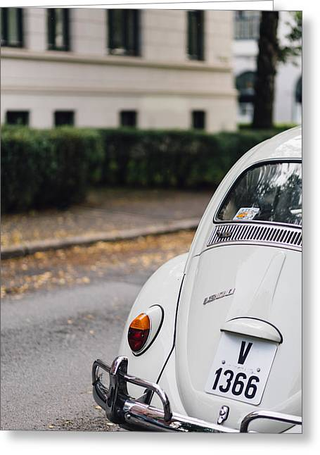 Volkswagen Beetle Retro Car At The City Street Greeting Card by Aldona Pivoriene