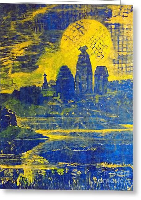 Vrindavan Spiritual Sky Greeting Card by Michael African Visions