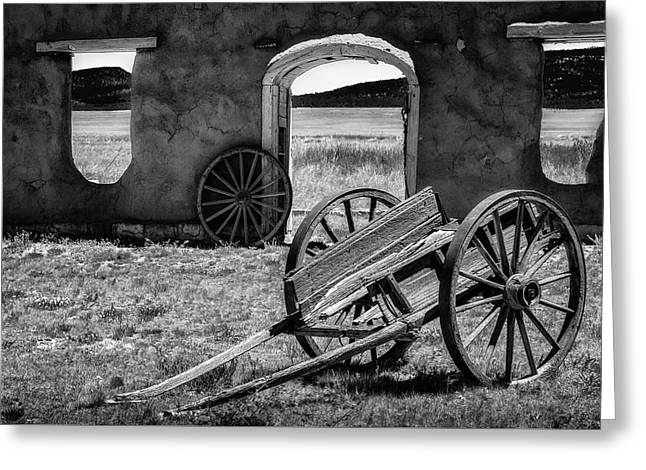 Wagon Wheels In Bw Greeting Card by James Barber