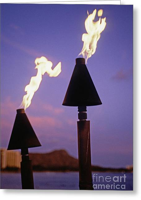 Gray Flames Greeting Cards - Waikiki, Tiki Torches Greeting Card by Carl Shaneff - Printscapes