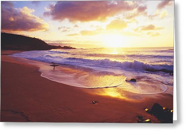 Waimea Bay Sunset Greeting Card by Bob Abraham - Printscapes