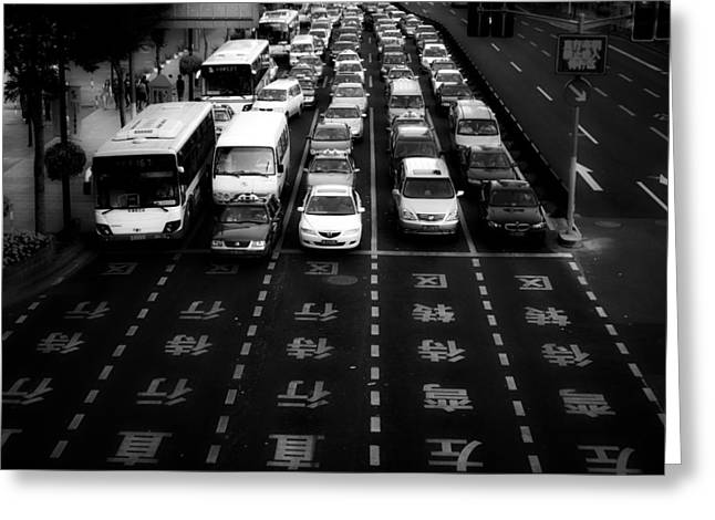 Congestion Greeting Cards - Waiting In Shanghai Greeting Card by Carlos Zgz