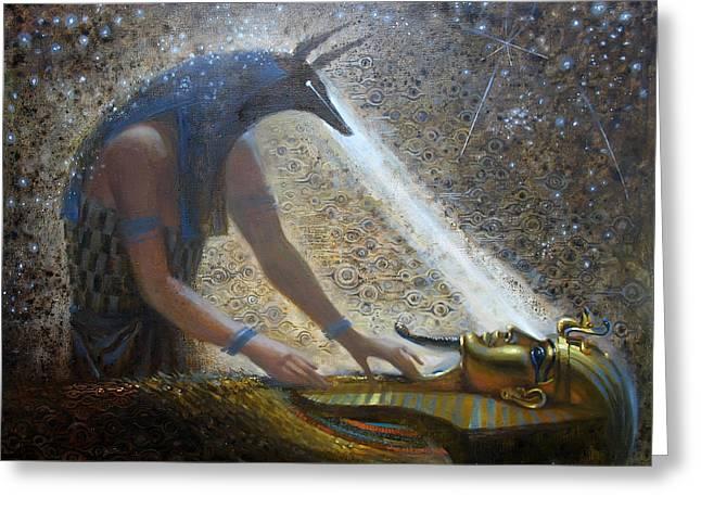 Egyptian Sarcophagus Greeting Cards - Wake Up Greeting Card by Valentina Kondrashova