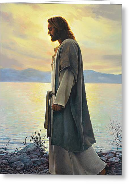 Sunrise. Water Greeting Cards - Walk with Me  Greeting Card by Greg Olsen