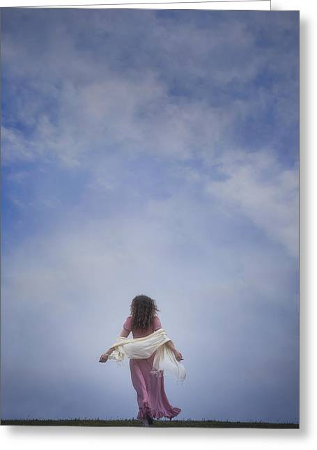 Romantic Movement Greeting Cards - Walking Into The Sky Greeting Card by Joana Kruse