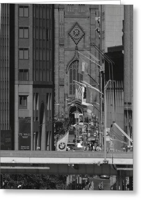 Wall Street Greeting Cards - Wall Street from Brooklyn Black and White Greeting Card by Christopher Kirby