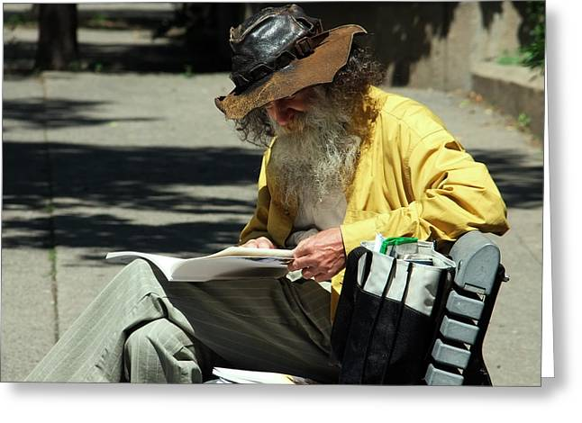 Old Man Reading Greeting Cards - Walt Reading  Greeting Card by Robert Knight
