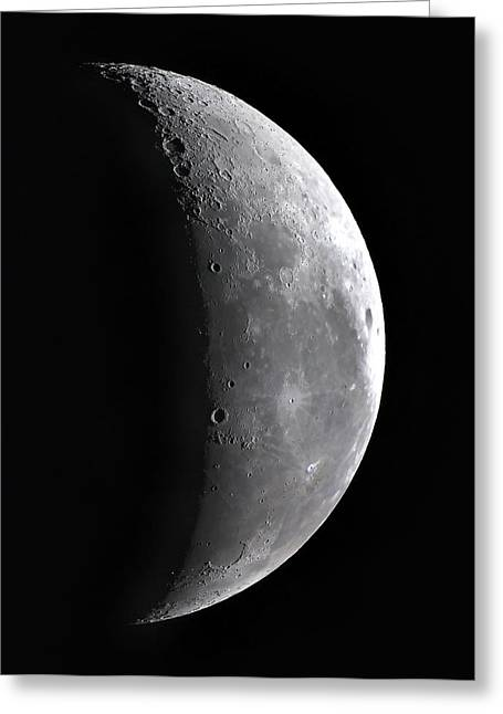 Waning Moon Greeting Cards - Waning Crescent Moon Greeting Card by John Sanford