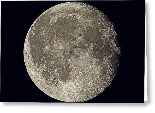Waning Moon Greeting Cards - Waning Gibbous Moon Greeting Card by Eckhard Slawik