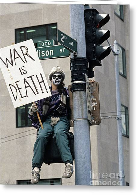 Iraq Posters Photographs Greeting Cards - War Protest Greeting Card by Jim Corwin