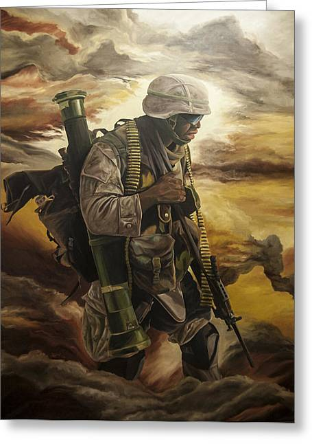 Iraq Prints Paintings Greeting Cards - Warrior Greeting Card by Annette Redman