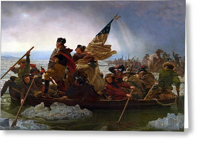 American Flags Greeting Cards - Washington Crossing The Delaware Greeting Card by Emanuel Leutze