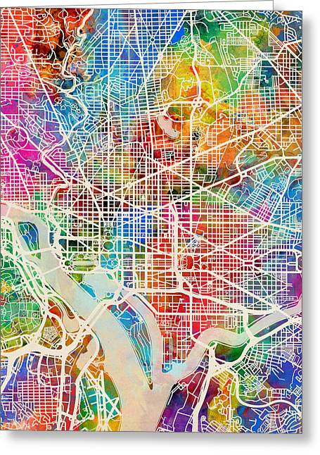 Street Maps Greeting Cards - Washington DC Street Map Greeting Card by Michael Tompsett