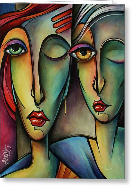 Urban Images Paintings Greeting Cards - Watch Greeting Card by Michael Lang