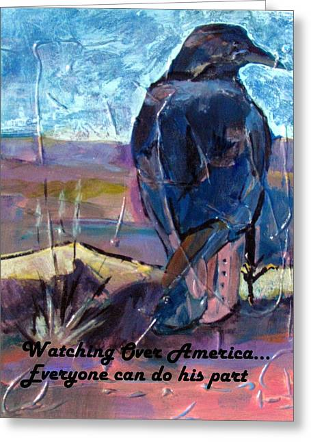 Surveying Paintings Greeting Cards - Watchful American Icon Greeting Card by Betty Pieper