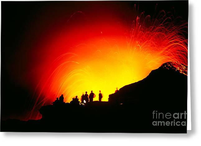 Ocean Art Photos Greeting Cards - Watching The Lava Flow Greeting Card by Erik Aeder - Printscapes