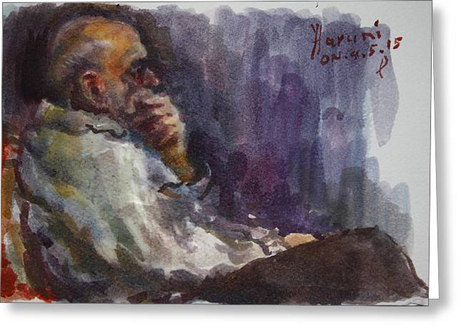 Watching Paintings Greeting Cards - Man Watching TV  Greeting Card by Ylli Haruni