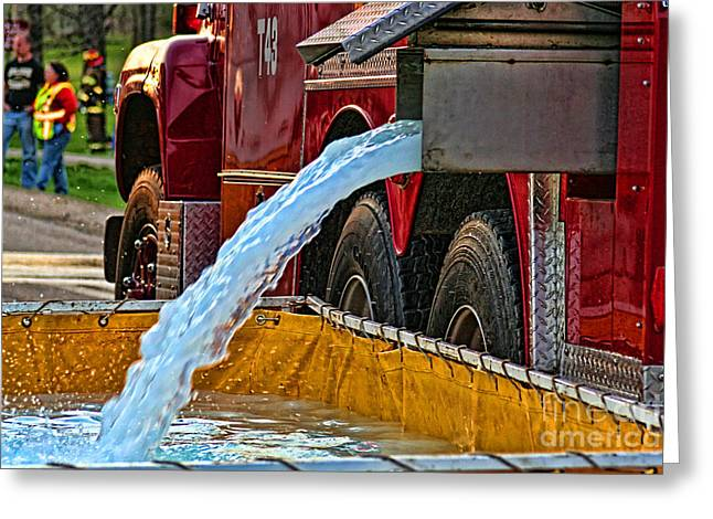 Water Dump Greeting Card by Tommy Anderson