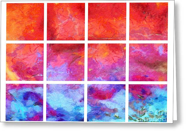Red Abstracts Greeting Cards - Water Fire Abstract Grid Greeting Card by Edward Fielding