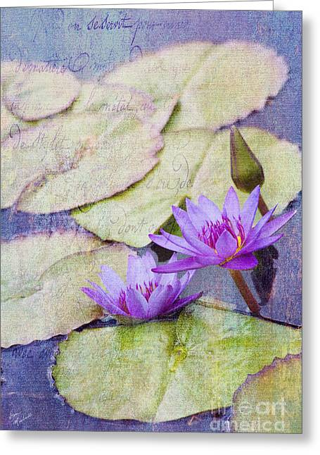 Enhanced Greeting Cards - Water Lilies Greeting Card by Diane Macdonald