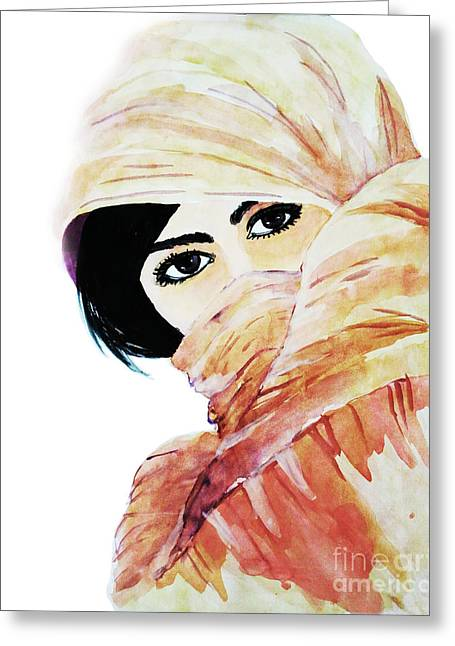 Watercolor Muslim Women Greeting Card by Rasirote Buakeeree