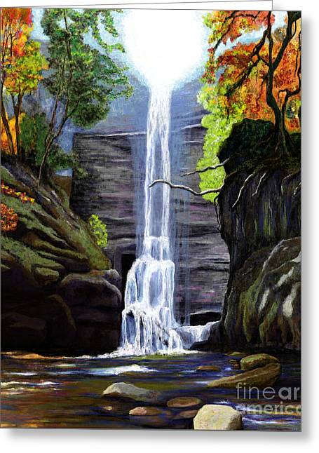Stream Digital Art Greeting Cards - Waterfall at Starved Rock Greeting Card by Jackie Case