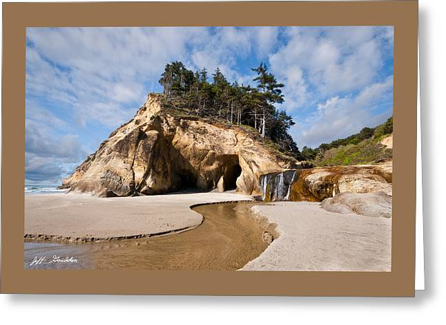 State Parks In Oregon Greeting Cards - Waterfall Flowing into the Pacific Ocean Greeting Card by Jeff Goulden